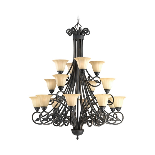 Progress Lighting Progress Chandelier with Beige / Cream Glass in Espresso Finish P4147-84
