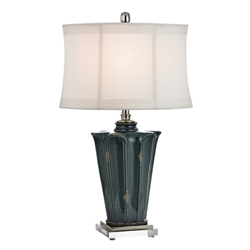 Dimond Lighting Table Lamp with White Shades in Basseterre Blue Finish D2454