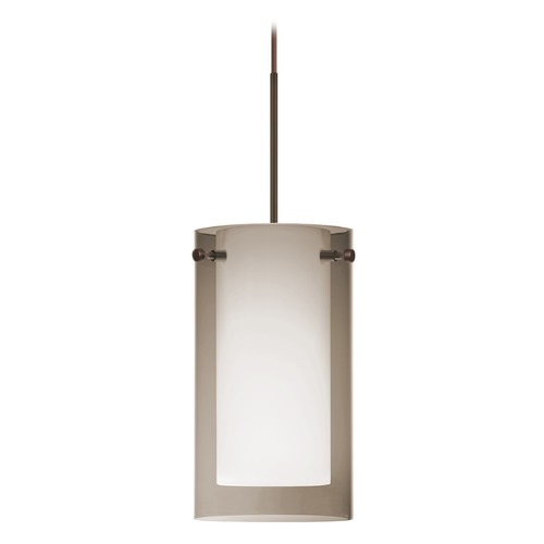 Besa Lighting Besa Lighting Pahu Bronze LED Mini-Pendant Light with Drum Shade 1XT-S44007-LED-BR