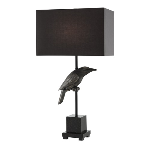 Currey and Company Lighting Currey and Company Raven Chinois Satin Black/black Table Lamp with Rectangle Shade 6000-0003