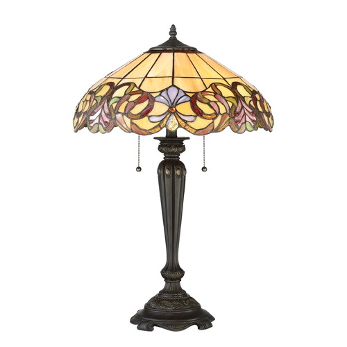 Quoizel Lighting Quoizel Lighting Tiffany Imperial Bronze Table Lamp with Scalloped Shade TF2802TIB