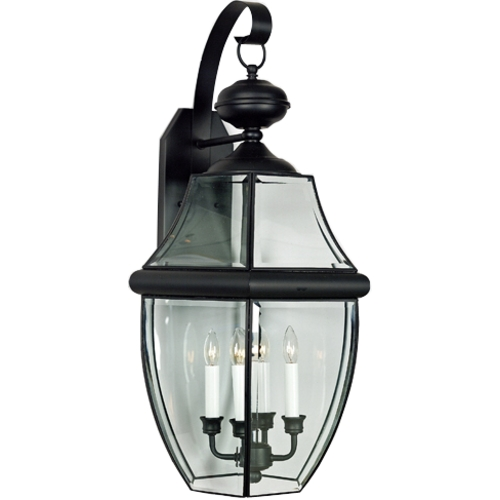 Quoizel Lighting Outdoor Wall Light with Clear Glass in Mystic Black Finish NY8339K