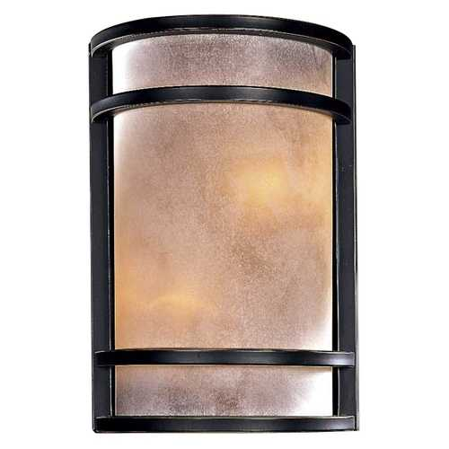 Minka Lavery Modern Sconce Wall Light with White Glass in Dark Restoration Bronze Finish 345-37B