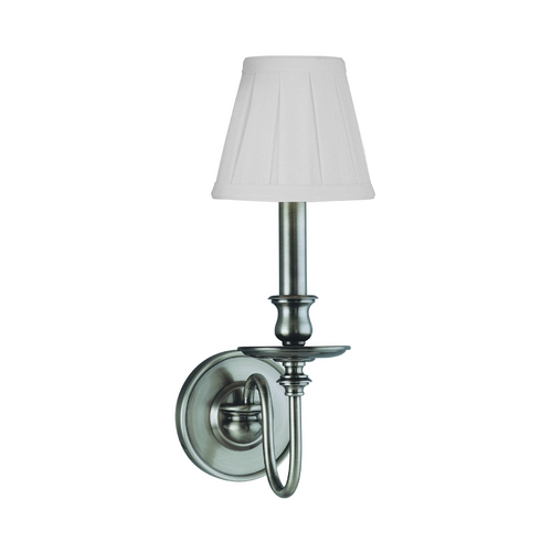 Hudson Valley Lighting Sconce Wall Light with White Shade in Antique Nickel Finish 4021-AN