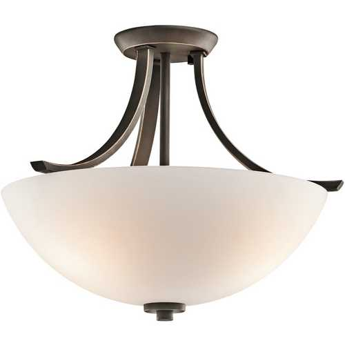 Kichler Lighting Kichler Semi-Flushmount Light with White Glass in Olde Bronze Finish 42563OZ