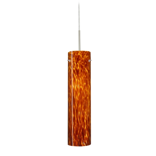 Besa Lighting Modern Pendant Light with Amber Glass in Satin Nickel Finish 1JT-722418-SN