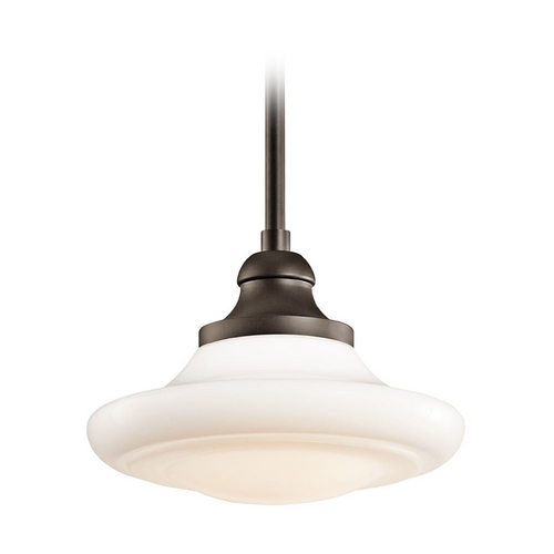 Kichler Lighting Kichler Pendant Light with White Glass in Olde Bronze Finish 42270OZ