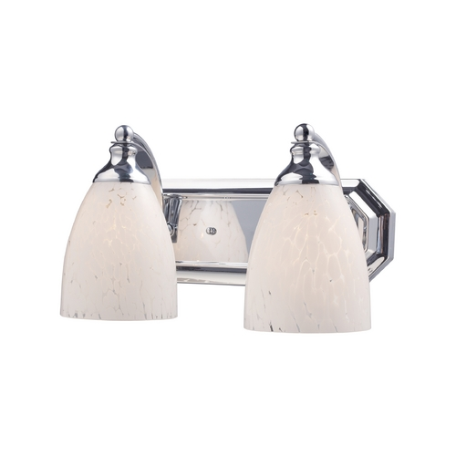 Elk Lighting Bathroom Light with Art Glass in Polished Chrome Finish 570-2C-SW
