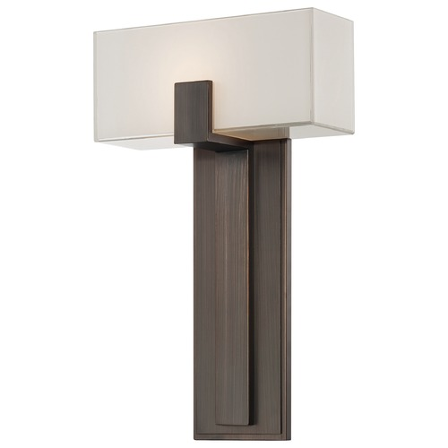 George Kovacs Lighting Modern Sconce Wall Light with White Glass in Copper Bronze Patina Finish P1704-647