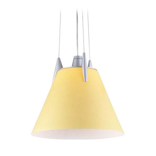 PLC Lighting Modern Pendant Light with Amber Glass in Aluminum Finish 265 AMBER