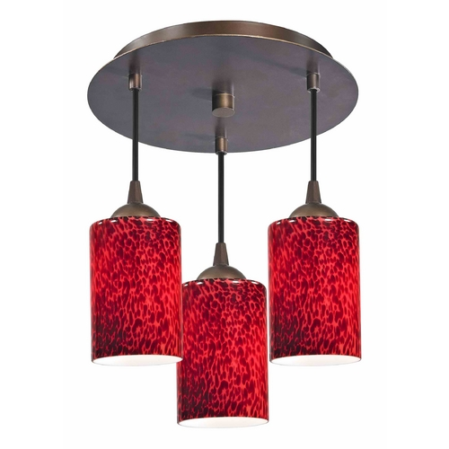 Design Classics Lighting 3-Light Semi-Flush Ceiling Light with Red Glass - Bronze Finish 579-220 GL1018C