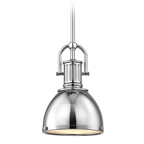 Design Classics Lighting Industrial Chrome Small Pendant Light with Metal Shade 7.38-Inch Wide 1764-26 SH1775-26 R1775-26