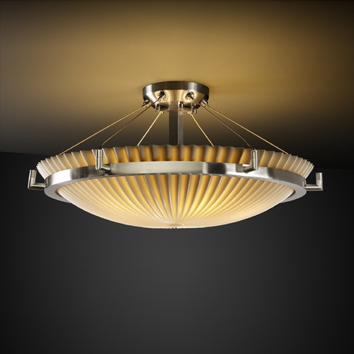 Justice Design Group Justice Design Group Porcelina Collection Semi-Flushmount Light PNA-9682-35-PLET-NCKL