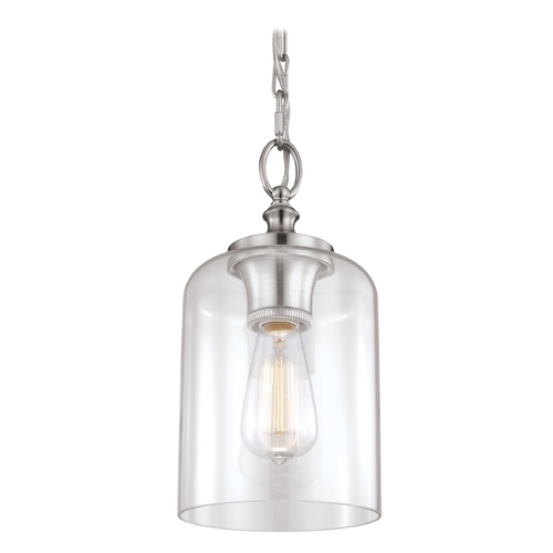 Feiss Lighting Feiss Lighting Hounslow Brushed Steel Mini-Pendant Light with Cylindrical Shade P1310BS