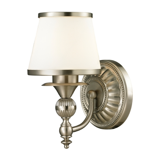 Elk Lighting Sconce Wall Light with White Glass in Brushed Nickel Finish 11600/1