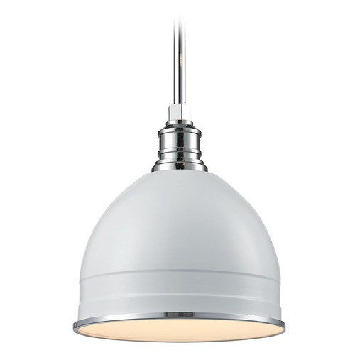 Elk Lighting Elk Lighting Carolton Gloss White/chrome Pendant Light with Bowl / Dome Shade 66872/1