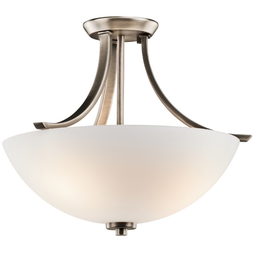 Kichler Lighting Kichler Brushed Pewter Semi-Flushmount Light with White Glass 42563BPT