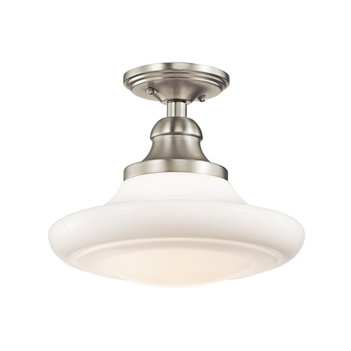 Kichler Lighting Kichler Brushed Nickel Semi-Flushmount Light with White Glass 42270NI