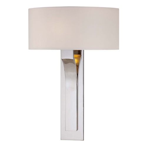 George Kovacs Lighting Modern Sconce Wall Light with White Shade in Polished Nickel Finish P1705-613