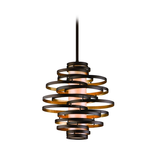 Corbett Lighting Modern Pendant Light in Bronze / Gold Leaf Finish 113-42-F