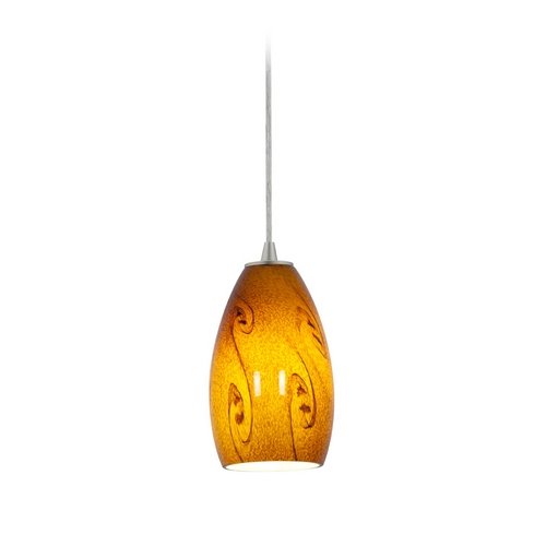 Access Lighting Modern Mini-Pendant Light with Amber Glass 28012-1C-BS/ASKY