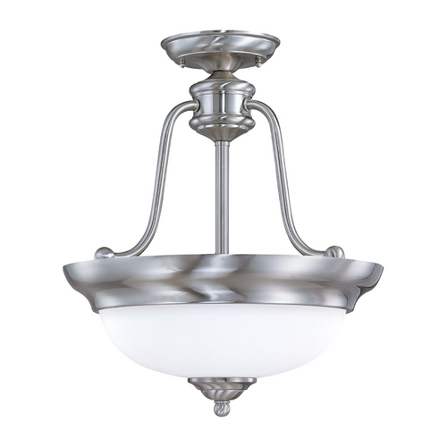Nuvo Lighting Semi-Flushmount Light with White Glass in Brushed Nickel Finish 60/1807