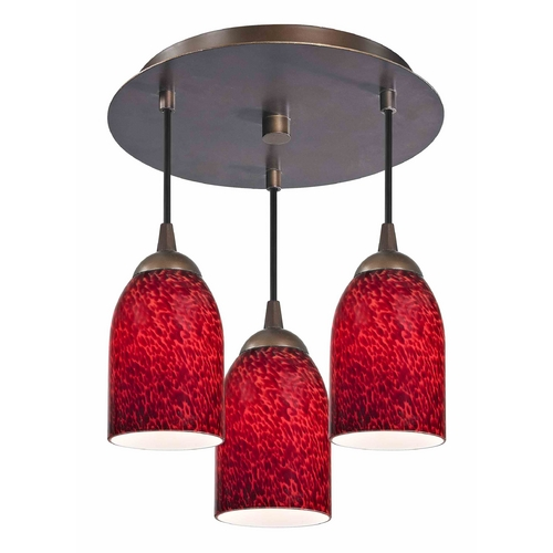 Design Classics Lighting 3-Light Semi-Flush Light with Red Glass - Bronze Finish 579-220 GL1018D