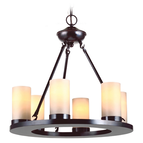 Sea Gull Lighting Sea Gull Lighting Modern 6-Light Mini Chandelier with Beige/Cream Glass in Burnt Sienna 31586-710