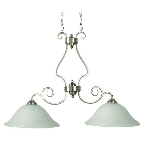 Jeremiah Lighting Jeremiah Cecilia Brushed Satin Nickel Island Light with Bowl / Dome Shade 7136BN2