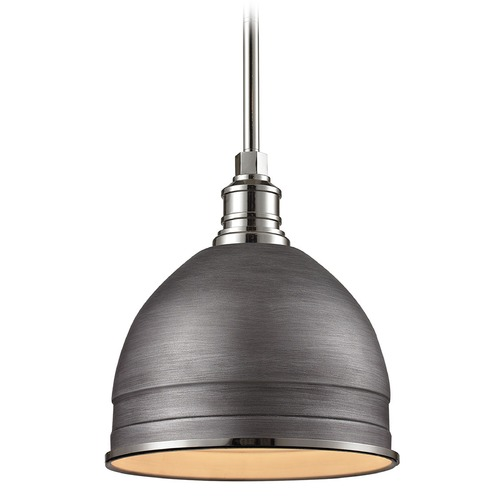 Elk Lighting Elk Lighting Carolton Weathered Zinc/polished Nickel Pendant Light with Bowl / Dome Shade 66882/1