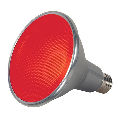 Satco Lighting Red 15W Medium Base LED Bulb PAR38 40 Degree Beam Spread Dimmable S9480
