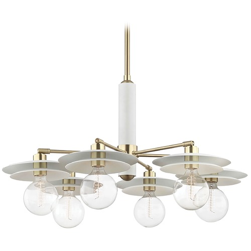 Mitzi by Hudson Valley Mid-Century Modern Chandelier Brass / White Mitzi Milla by Hudson Valley H175806-AGB/WH