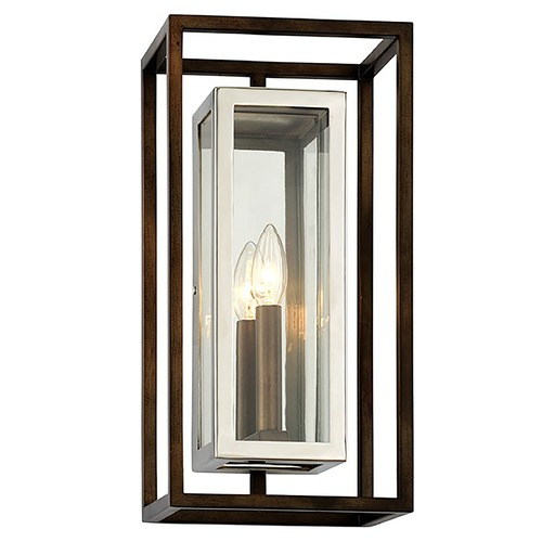 Troy Lighting Troy Lighting Morgan Bronze with Polished Stainless Outdoor Wall Light B6512