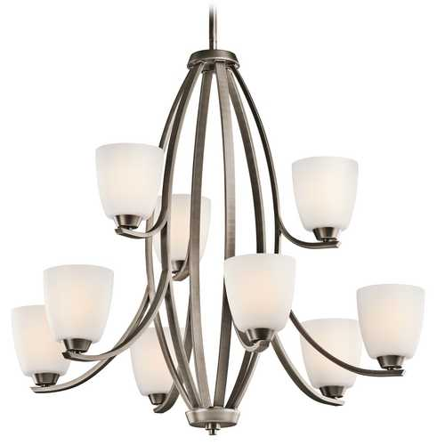 Kichler Lighting Kichler Chandelier with White Glass in Brushed Pewter Finish 42559BPT