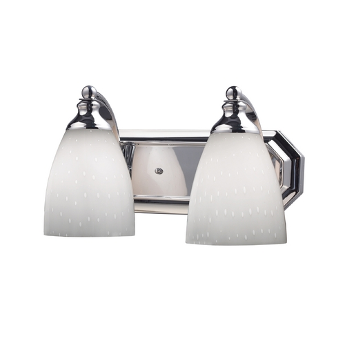 Elk Lighting Bathroom Light with Art Glass in Polished Chrome Finish 570-2C-WH