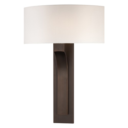 George Kovacs Lighting Modern Sconce Wall Light with White Shade in Copper Bronze Patina Finish P1705-647