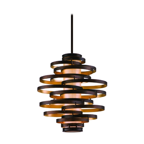 Corbett Lighting Modern Pendant Light in Bronze / Gold Leaf Finish 113-43-F