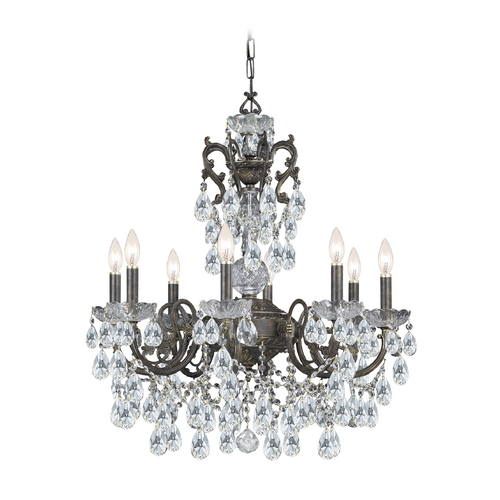 Crystorama Lighting Crystal Chandelier in English Bronze Finish 5198-EB-CL-SAQ