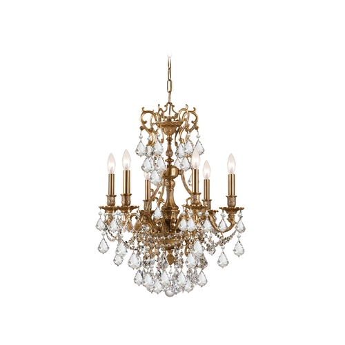Crystorama Lighting Crystal Mini-Chandelier in Aged Brass Finish 5146-AG-CL-MWP