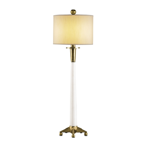 Currey and Company Lighting Table Lamp with White Shade in White/brass Finish 6298