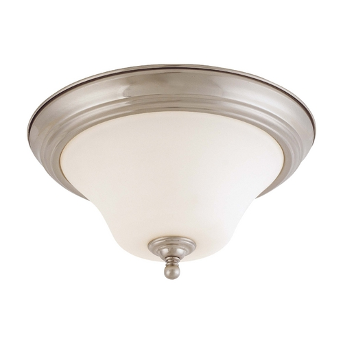 Nuvo Lighting Flushmount Light with White Glass in Brushed Nickel Finish 60/1825