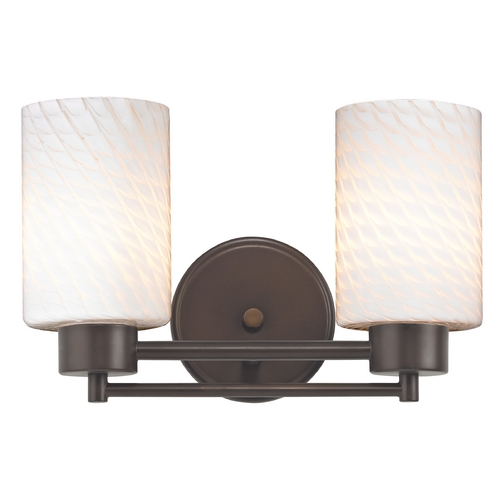 Design Classics Lighting Modern Bathroom Light with White Glass in Bronze Finish 702-220 GL1020C