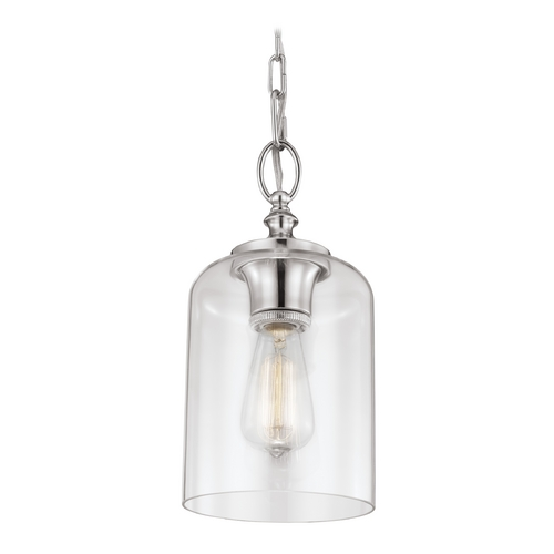 Feiss Lighting Feiss Lighting Hounslow Polished Nickel Mini-Pendant Light with Cylindrical Shade P1310PN