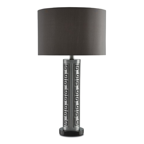 Currey and Company Lighting Currey and Company Muse Antique Silver/black Table Lamp with Drum Shade 6000-0006