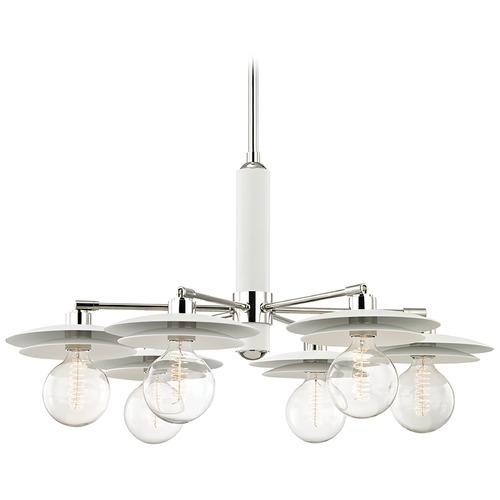 Mitzi by Hudson Valley Mid-Century Modern Chandelier Polished Nickel / White Mitzi Milla by Hudson Valley H175806-PN/WH