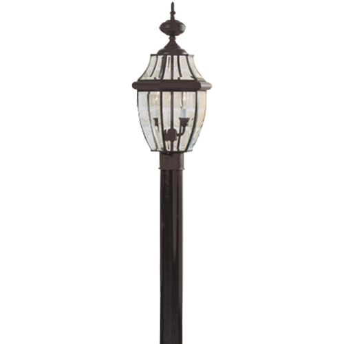 Quoizel Lighting Post Light with Clear Glass in Mystic Black Finish NY9042K