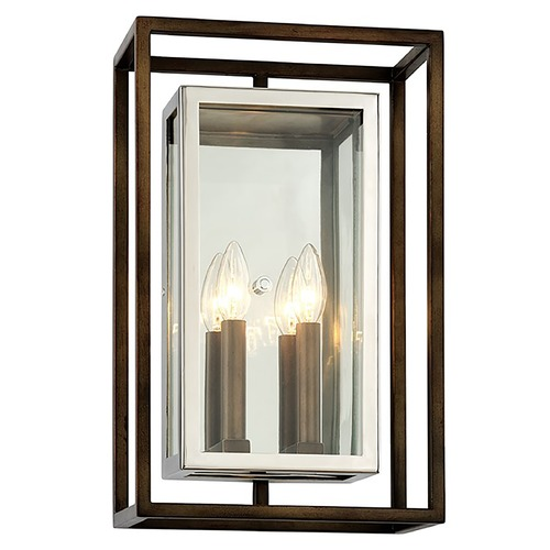 Troy Lighting Troy Lighting Morgan Bronze with Polished Stainless Outdoor Wall Light B6513