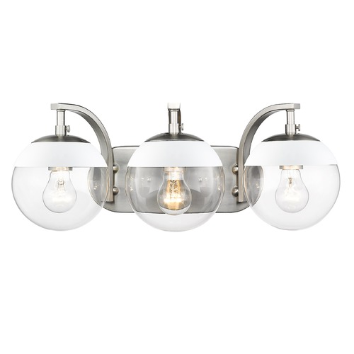 Golden Lighting Golden Lighting Dixon Pewter Bathroom Light with White Accent 3219-BA3PW-WHT