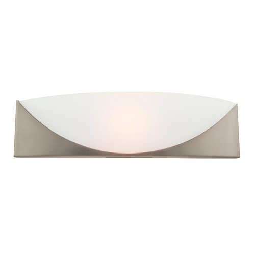 Access Lighting Modern Sconce Wall Light with White Glass in Satin Nickel Finish 20414-SAT/FST