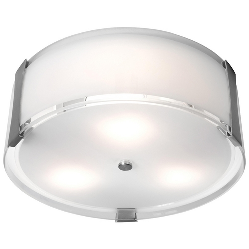 Access Lighting Modern Flushmount Light with White Glass in Brushed Steel Finish 50120-BS/OPL